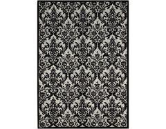 damask das02 black white rug